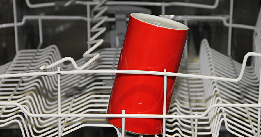 Cup in a dishwasher rack