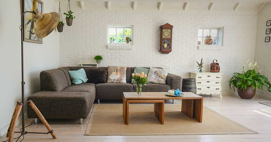 A neat looking living room in a house