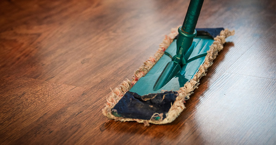 Mop on wood floor