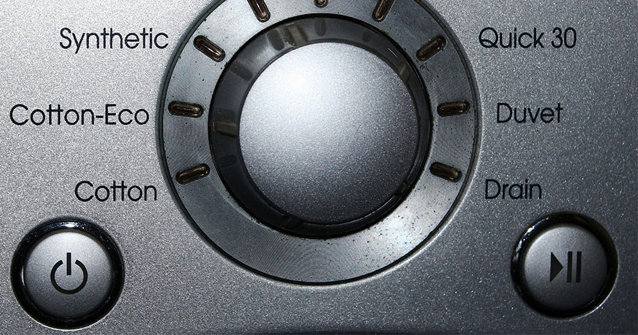 Dials on washing machine