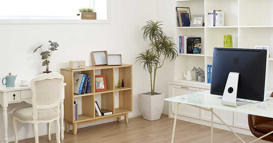 Clean room with bookcase and desk