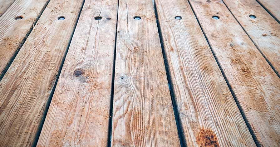 Wooden boards of a deck