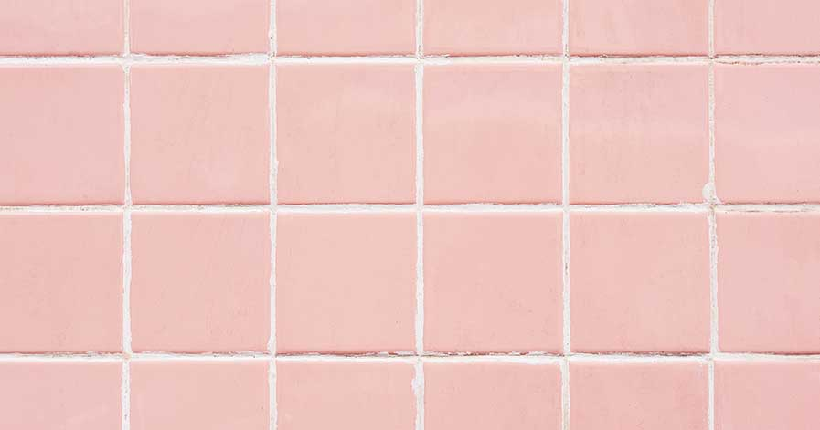 Pink tiles with white grout