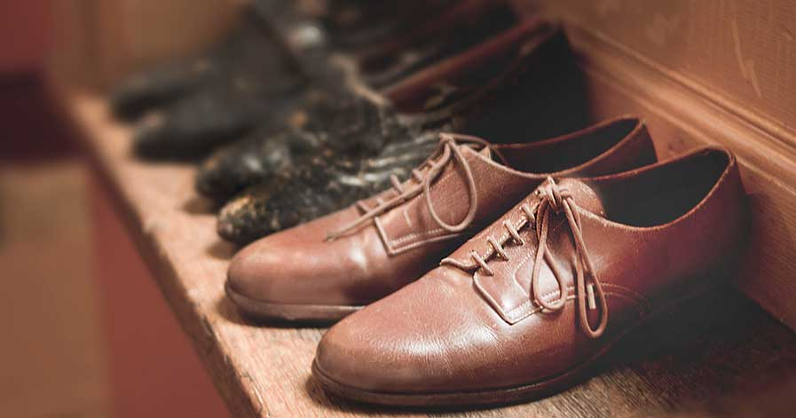 Dress shoes on a rack