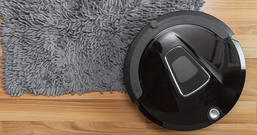 Robot vacuum on a rug