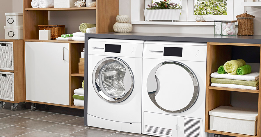 Washing machine and dryer in a laundry room
