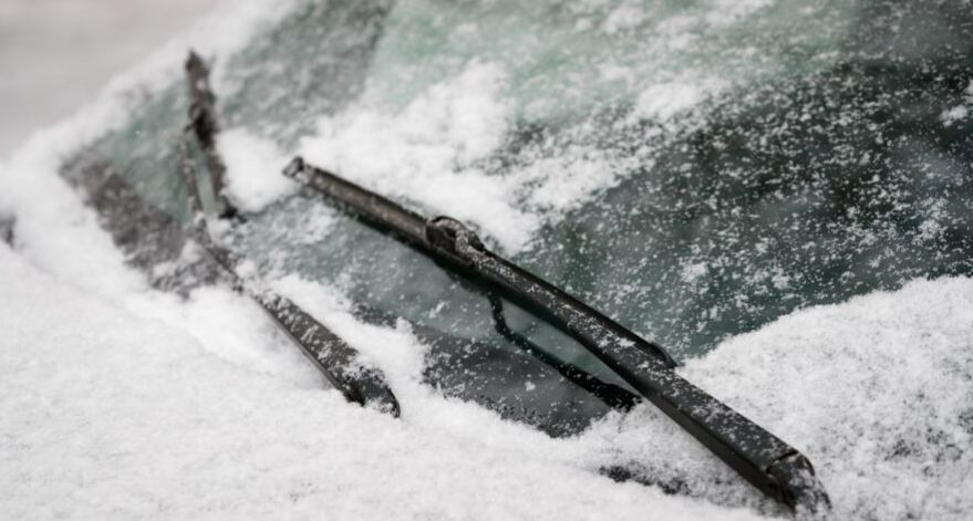 Wiper blades coated in snow.