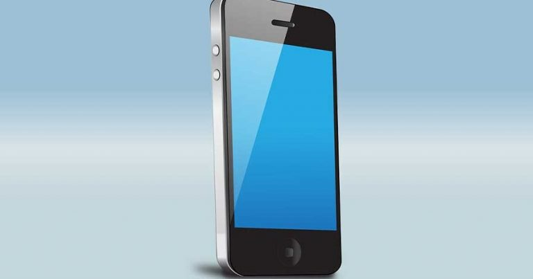 A photo of a black smart phone device with a blank screen